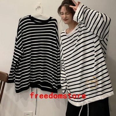 Tシャツレディース長袖カットソー縞柄ゆったりビッグtシャツトップスドローストリング裾お中元10%OFFクーポン