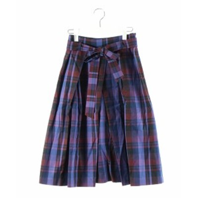 【中古】未使用品 アナイ ANAYI 18AW スカート フレア ロング チェック リボン 青 赤紫 38 /DK7 レディース