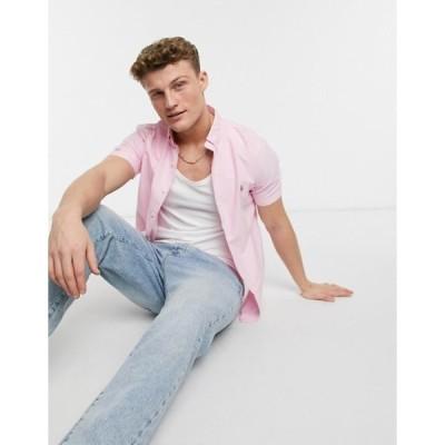 ラルフローレン メンズ シャツ トップス Polo Ralph Lauren player logo short sleeve oxford shirt button down slim fit in pink