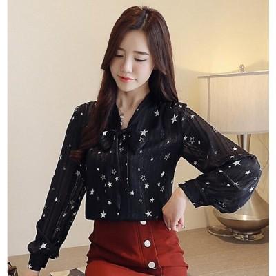 ブラウスシャツ星柄シフォンワイシャツレディース韓国ファッション長袖トップス薄手通勤ファッションおしゃれカジュアル代引不可