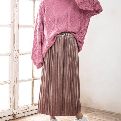 ベルベットプリーツスカート(ブラウン×M)