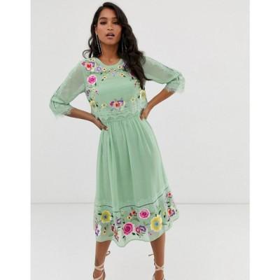 エイソス ASOS DESIGN レディース ワンピース ワンピース・ドレス double layer embroidered midi dress Sage green