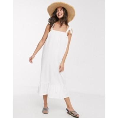 エイソス レディース ワンピース トップス ASOS DESIGN cami midi sundress with pep hem in white White