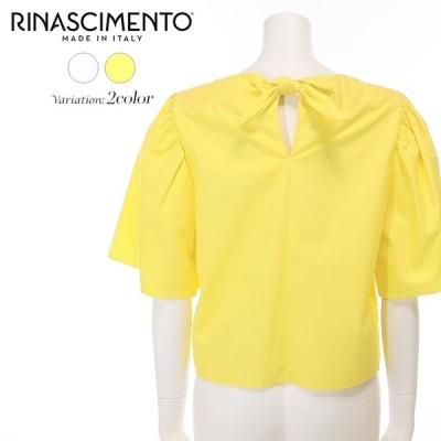 リナシメント Rinascimento シャツ ブラウス レディース ギャザー 絞り ボリューム袖 半袖 オーバーシャツ