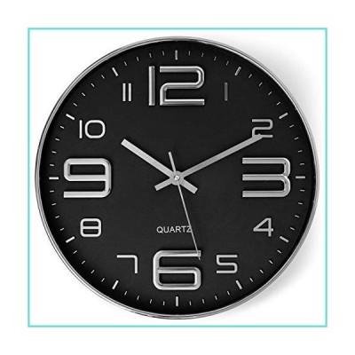 Bernhard Products ブラック壁掛け時計 12インチ スタイリッシュ モダン シルバー サイレント カチッとしない