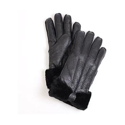 手袋 ムートン グローブ レディース 女性用 ベージュ ハンドメイド で 天然羊毛の暖かさ 皮手袋 本皮手ぶくろ (ブラック Medium)