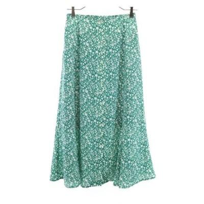 ダブルクローゼット フレア 花柄 スカート F 緑x白 w closet ロング 総柄 レディース 古着 210225