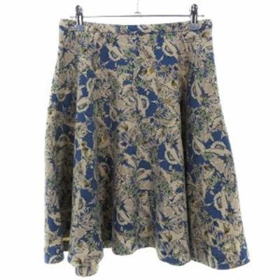 【中古】アナトリエ ANATELIER スカート フレア ひざ丈 バックファスナー 薄手 花柄 38 青 ボトムス レディース