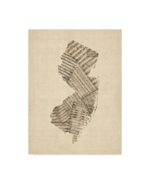"""Michael Tompsett Old Sheet Music Map of New Jersey Canvas Art - 20"""" x 25"""""""