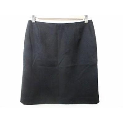 【中古】アイシービー iCB 台形スカート ひざ丈 ファスナー ストレッチ 裏地付 黒 ブラック 9 レディース