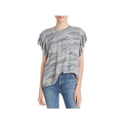 レディース 衣類 トップス Elan Womens Camouflage Ruffled T-Shirt ブラウス&シャツ