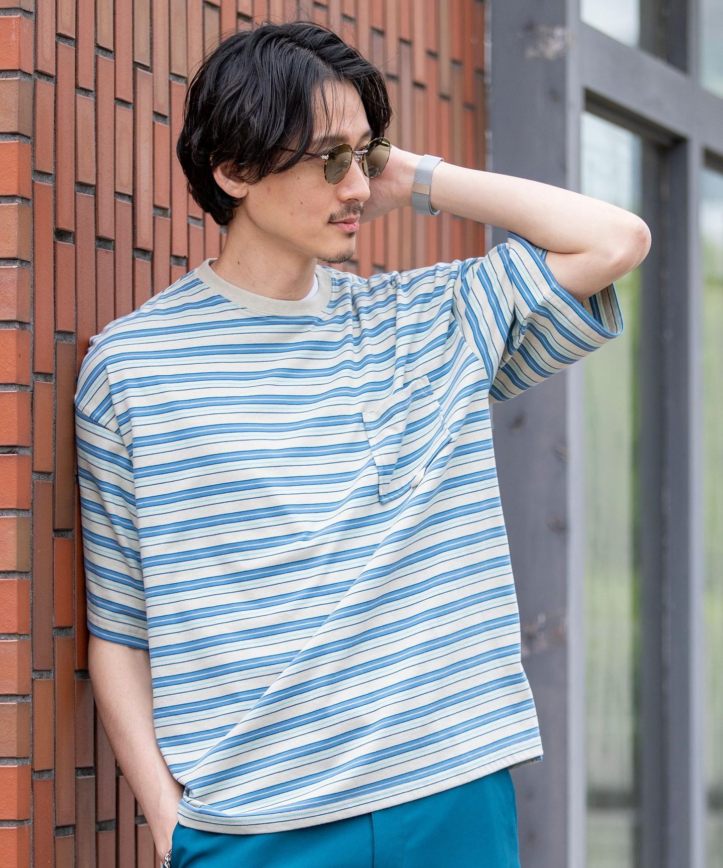 TC多色橫條紋T恤