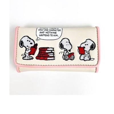 スヌーピー PEANUTS キーケース ブック刺繍 スヌーピー ケース 鍵入れ グッズ ベージュ (MCOR)