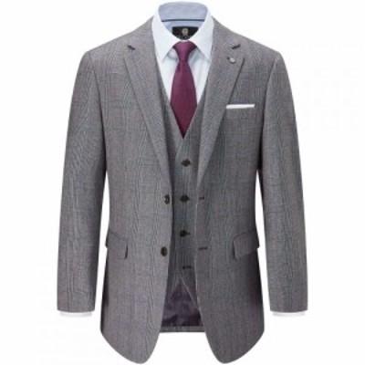 スコープス Skopes メンズ スーツ・ジャケット アウター Waldo Wool Check Suit Jacket Grey