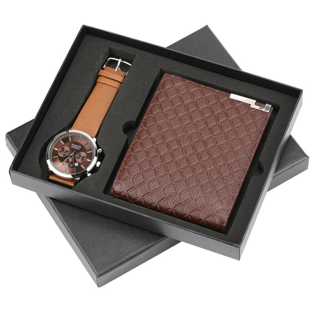 男仕歐美風手錶皮夾精品禮盒(2件組)M1244-1
