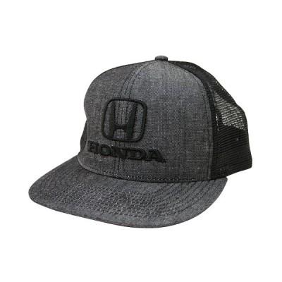 HONDA オフィシャル デニム ロゴ メッシュ フラットブリム スナップバック キャップ 帽子 ファッション ブラック グレー