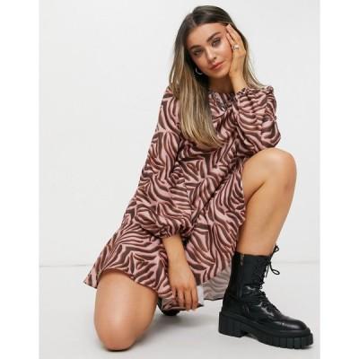 チチロンドン ミニドレス レディース Chi Chi London tiger print smock mini dress in brown エイソス ASOS ブラウン 茶