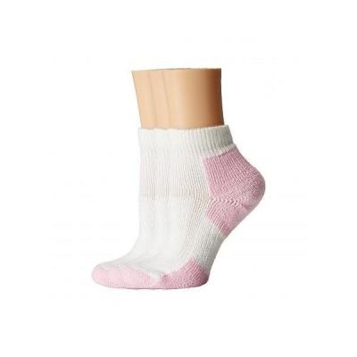 Thorlos ソロス レディース 女性用 ファッション ソックス 靴下 Thick Cushion Distance Walking 3-Pair Pack - White/Pink