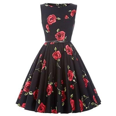 ダッパー ドレス オールディーズ 衣装 レディース ビンテージ ノースリーブ ワンピース ブラック&レッドローズ ダッパーデイ