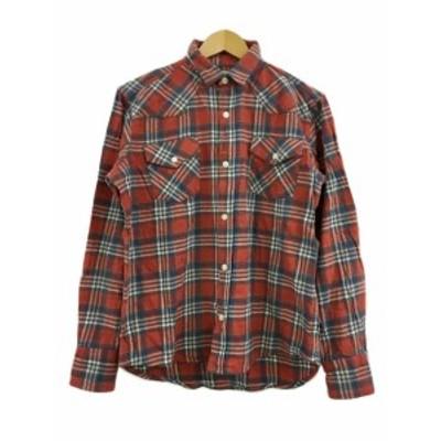【中古】バックナンバー BACK NUMBER シャツ ネルシャツ スタンダード チェック 長袖 M グレー 赤 レッド メンズ