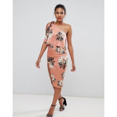 ミスガイデッド レディース ワンピース トップス Missguided floral one shoulder midi dress Orange floral