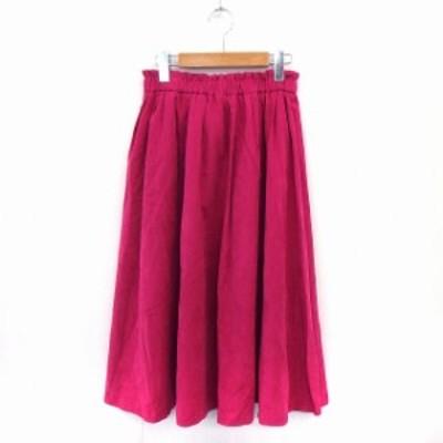 【中古】TRUDEA スカート ギャザー フレア 膝丈 ウエストゴム フェイクスエード M ピンク /ST4 レディース