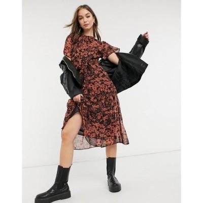 ニュールック レディース ワンピース トップス New Look shirred neck midi dress in black pattern Black pattern