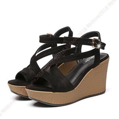レディースサンダル 美脚 厚底サンダル ウェッジソール 8cm アンクル 黒色 粉色  婦人靴 レジャー  前厚 防水台 大きいサイズ 小さい オフィス 旅行 通勤 散歩