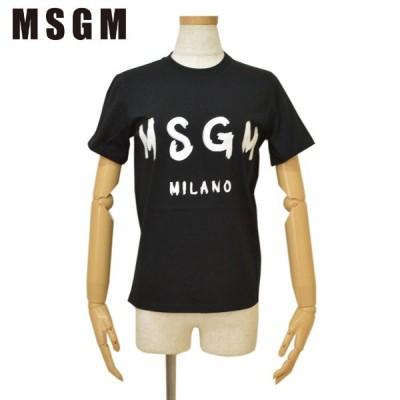 Tシャツ MSGM エムエスジーエム レディース ロゴ 半袖 emm18s506 MDM60 ブラック