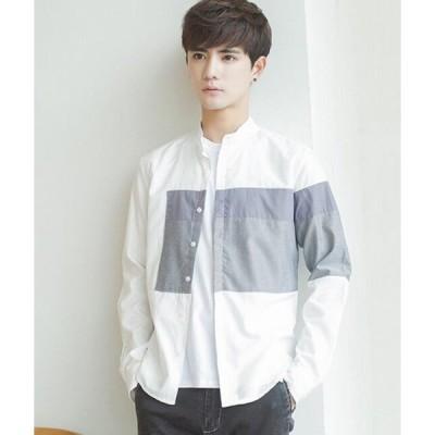 二枚送料無料 メンズワイシャツ 韓国風 長袖 フレッシュ スーツシャツ カジュアル スプライス 着回し 若者衣装 フレッシュ 通学 普段着 レイヤード