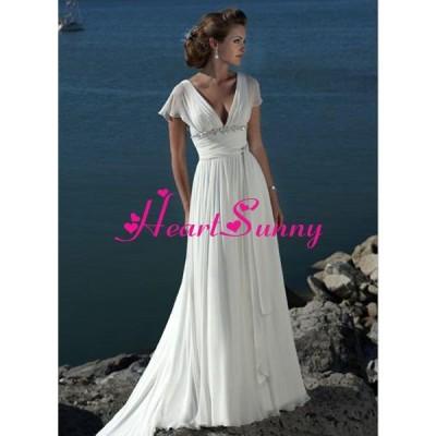 ウェディングドレス Vネック ベアバック フレンチ袖 スレンダー A104