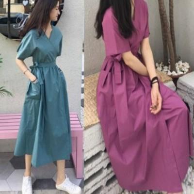 韓国ファッション ラップロングワンピース Vネックワンピース 大きなポケット ロング丈   cr01533