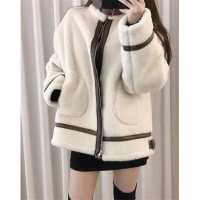 早く買いに来てください 韓国ファッション 厚手 フェイクファー おしゃれな 短いスタイル ゆったりする ムートンコート
