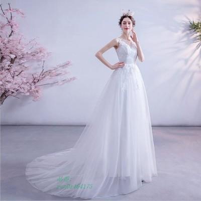 ウエディングドレス aライン 安い ホワイト ロングドレス 結婚式 発表会 演奏会 ロングドレ 二次会 ブライダル ウエディングドレス トレーン ドレス 花嫁