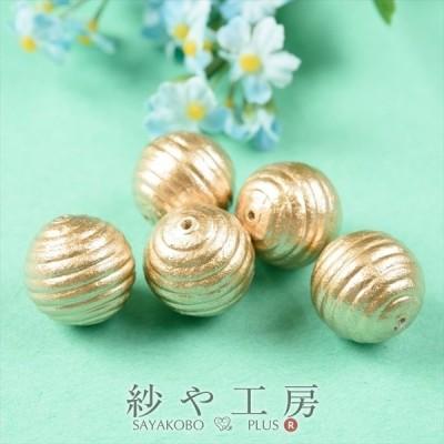 コットンパール パーツ 日本製 丸筋 両穴 ゴールド 20mm 2cm 5個