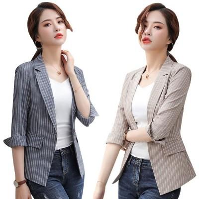 テーラードジャケット レディース サマージャケット ストライプ 七分袖 薄手 夏 大きいサイズ 通勤OL オフィス 韓国風 おしゃれ