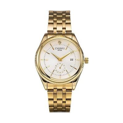 海外限定 Mastop Men's Golden Quartz Stainless Steel Band Diamante Sub Dial Waterproof Men Wristwatches