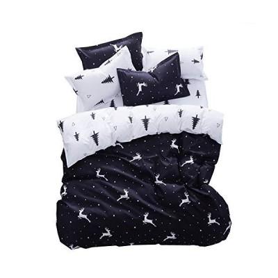 King Black and White  Nattey Deer Cotton Blend Bed Pillowcase Duvet Cover Q