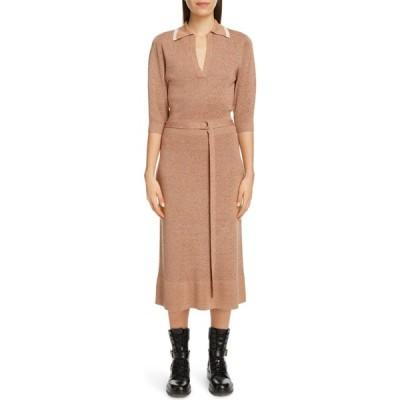 クロエ CHLOE レディース ワンピース ミドル丈 ワンピース・ドレス Belted Silk & Wool Midi Sweater Dress Captive Beige