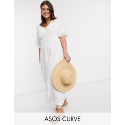 エイソス レディース ワンピース トップス ASOS DESIGN Curve broderie tea maxi dress with puff sleeve in white White