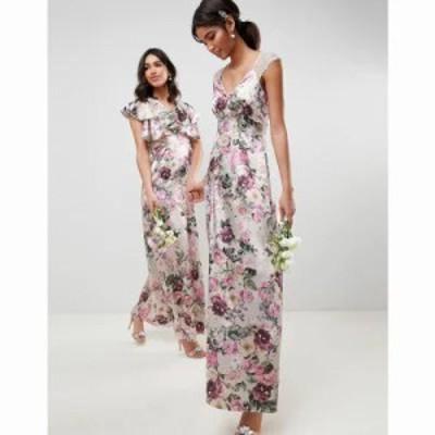 エイソス ワンピース lace insert maxi dress in pretty floral print Floral