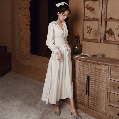 2021夏新品ウェディングドレス白 パーティードレス ウエディングドレス エレガント 簡約 ウエディング 花嫁ロングドレス 結婚式 二次会 挙式hs5847