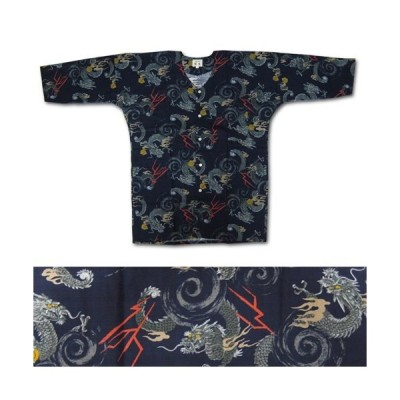 お祭用品/肉襦袢 鯉口シャツ 龍 153紺 1号〜3号 (子供用)