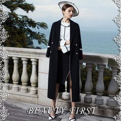 クラシカル黒ロングコート レディース アウター 上着 コート 防寒 厚手 高級感 上品 テーラードコート ロング丈 結婚式 披露宴 通勤  パーティー