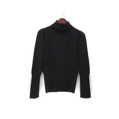 【中古】ビアッジョブルー Viaggio Blu ニット 2 M 黒 ブラック ウール 長袖 タートルネック 無地 シンプル 美品 レディース 【ベクトル 古着】