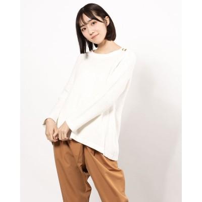 リネーム Rename 飾りボタンフレア裾ニットセーター(オフ)