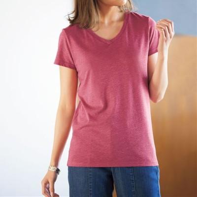 シンプルTシャツ(半袖)(S~3L・選べる2タイプ)/クラウディローズ(杢調)/LL(クルーネック)