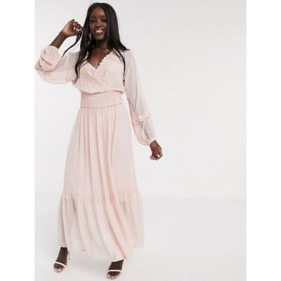 エイソス ASOS DESIGN レディース ワンピース ワンピース・ドレス lace insert shirred waist maxi dress in dusky pink ダスキーピンク
