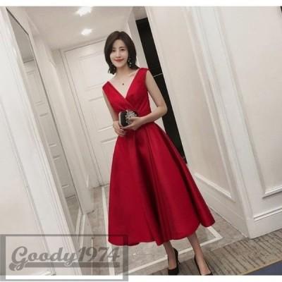 パーティドレス 結婚式ドレス 二次会 お呼ばれ ワンピース ワンピドレス 20代 30代 40代 ノースリーブ ミモレ丈