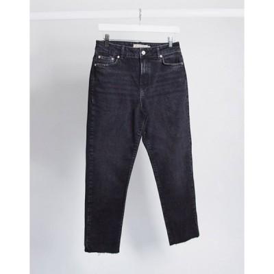ピーシーズ レディース デニムパンツ ボトムス Pieces nima straight leg high waisted jeans in black